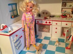 Sindy Doll in the Kitchen - I haven't seen this red and white kitchen set before. Anyone know if it was an official Sindy kitchen? Vintage Barbie, Vintage Dolls, Red And White Kitchen, Tammy Doll, Barbie Kitchen, 1970s Childhood, Sindy Doll, Living Dolls, Barbie Friends