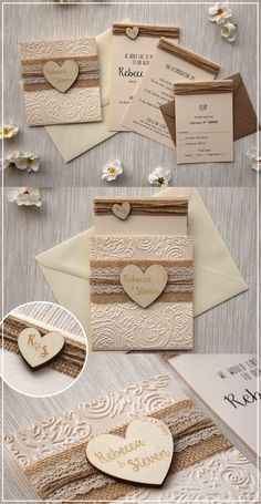 wedding invitations diy Rustic Burlap and Lace Wedding Invitations Kit inspired by the rustic and country weddings. The addition of the natural burlap and cream lace and the personalized wooden heart on the belly band turns this invitation simply perfect. Vintage Wedding Invitation, Wedding Invitation Packages, Country Wedding Invitations, Laser Cut Wedding Invitations, Rustic Invitations, Graduation Invitations, Wedding Invitation Wording, Wedding Invitations Diy Handmade, Event Invitations