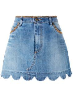 Valentino Saia jeans com recorte ondular Cute Skirts, Mini Skirts, Denim Fashion, Fashion Outfits, Scalloped Skirt, Blue Denim Skirt, Recycled Denim, Straight Skirt, Skirt Outfits