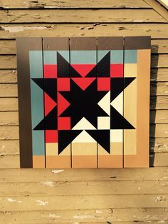 Great Lakes Log Cabin quilt block, designed by Judy Martin for The Block Book, 1998. American Star Barn Quilt--love how this is almost a log cabin with a black overlay. Gorgeous.