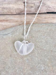 white beach glass necklace, heart shaped beach glass necklace, white sea glass pendant, heart shaped sea glass pendant by TreasuresFromTheLake on Etsy
