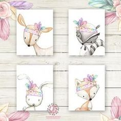 Bunny Rabbit Deer Fox Bear Nursery Wall Art Prints Woodland Boho Feather Bohemian Floral Girls Baby Pink Purple Mint Kids Room Bedroom Decor Print Set Of 4