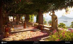 I did the level art for the City of Mykonos, and most of the Island of the same name, for Assassin's Creed Odyssey. Here are samples of my work, the world is too huge to cover it all ! Mykonos Island was featured for the demo alongside Delos Island Fantasy Art Landscapes, Fantasy Drawings, Fantasy Landscape, Fantasy Artwork, Fantasy City, Fantasy Places, Fantasy World, Ancient Greece, Ancient Rome