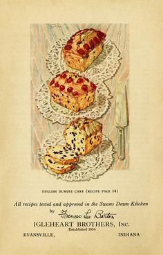 vintage cake clip art, English Dundee cake, baked goods illustration, vintage kitchen graphics, printable cookbook page, old fashioned cake recipe