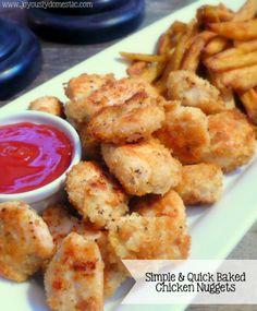 Baked chicken nuggets.  Panko bread crumbs, seasonings, then drizzle with evoo.  Sprinkle with more panko and bake.