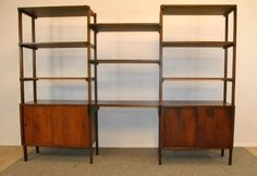 MID CENTURY MODERN DANISH TEAK FREE STANDING WALL SHELF UNIT... I love the layout of this unit.