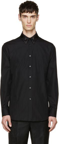 ALEXANDER MCQUEEN Black Patchwork Collar Shirt. #alexandermcqueen #cloth #shirt