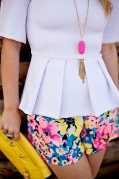 Floral Shorts + Kendra Scott Necklace
