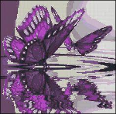 Purple Butterfly Reflections -  Counted  Cross Stitch Chart Pattern -  Pillow Pattern.   via Etsy.