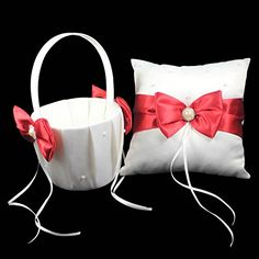 OurWarm 1 Wedding Ring Bearer Pillow + 1 Flower Girl Basket ,Decor w/ Red Ribbon Bowknot, Rhinestone Pearl, Rustic,Elegant Wedding Ceremony Party Favor OurWarm http://www.amazon.com/dp/B00NL3IY2E/ref=cm_sw_r_pi_dp_KDOTub1SA3YNR