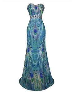 Hot Peacock Feather  Rhinestone Slim Bridemaids/Evening Dress S M L XL 18 Green #Unbranded #Maxi #Formal