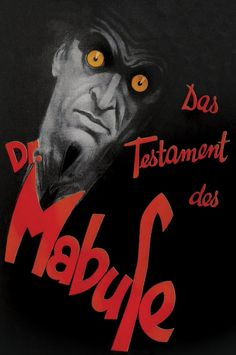 """keyframedaily: """" Fritz Lang's The Testament of Dr. Tom Robbins, Fritz Lang, Scary Monsters, Horror Movies, Cover Art, Movie Posters, Film Poster, Magic, Type"""