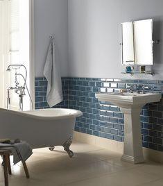 how not to do it Aqua glass metro tiles. A splash of colour with tiles Metro Tiles Bathroom, Glass Tile Bathroom, Small Bathroom, Bathroom Wall, Fired Earth Bathroom, Blue Bathrooms, Colorful Bathroom, Bathroom Cabinets, Bathroom Vanities