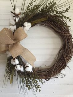 Last OneFarmhouse Cotton WreathFarmhouse by SugarTreeFarms on Etsy