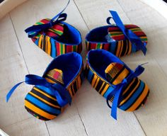 Blue Yellow Red African Kente Print Baby Booties by Bonniebabyboutique on Etsy