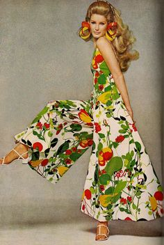 Jumpsuit by Adele Simpson (late 1960s cotton ad) Jumpsuits were so comfortable.