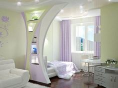 beautiful teen bedroom with purple curtains