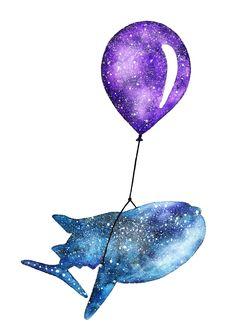 Jasmin Ekström      Watercolor illustration of a whale shark