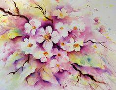 Spring Blossoms - Apple Trees  in Bloom - Splash and Splatter Lin Frye