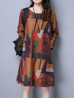 Vintage Women Long Sleeve Geometry Printed Loose O-Neck Pocket Dresses