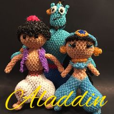 Disney's Aladdin Combo Play Pack Rubber Band Figure, Rainbow Loom Loomigurumi, Rainbow Loom Disney by BBLNCreations on Etsy  Loomigurumi Amigurumi Rainbow Loom