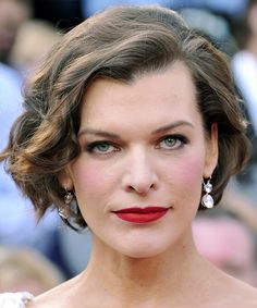 View and try on this Milla Jovovich Short Wavy Formal Bob hairstyle - Light Brunette.