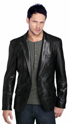 "Buy ductile and cozy mens leather blazer online...my info for Chris: 71"" height, XXL in Black..$284.00 @ www.leatherfads.com"