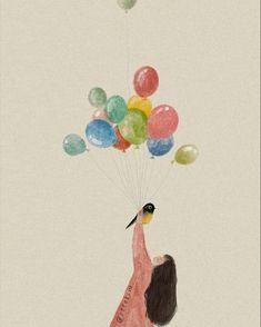 Balloon Illustration, Illustration Girl, Angel Artwork, Anime Art Girl, Portrait Art, Cute Drawings, Cute Art, Watercolor Art, Sketches