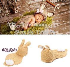 neuen stil baby hase hut Cape kostüm set junge mädchen Neugeborenen Ostern häkeln foto requisiten Outfit beanie hat(China (Mainland))