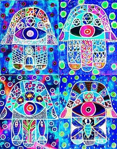 Sandra Silberzweig - Blue Hamsa - Original Art Print (copyright)   For additional print sizes, commission work, or purchase of my Original Artwork, please feel free to email me at isandra@primus.ca   If you are interested in viewing more of my artwork, I will gladly email you additional links.   I look forward to your inquires.   ALL MY ARTWORK IS COPYRIGHTED