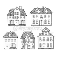 Old hand drawing houses isolated. Vector illustration. — Stock Vector #10456576