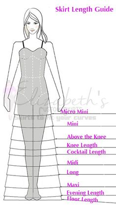 Skirt Length Guide Your bridesmaid dress should be evening length at the shortest. Ideally floor length and not puddling on the floor. Shoe height can help! Fashion Sewing, Diy Fashion, Ideias Fashion, Fashion Outfits, Sewing Clothes, Diy Clothes, Fashion Terms, Fashion Dictionary, Fashion Vocabulary