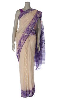 Beige and Purple Half Silk Jamdani Saree