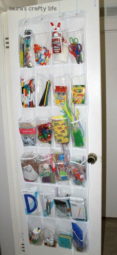 I need to do this with my preschool art supplies, it would be so much easier to see than my current system! Organized Art and School Supplies