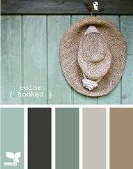 Love the color combinations for bathroom. Dark floor, brown walls and sink base, cream tub and sink, teal and gray accents.