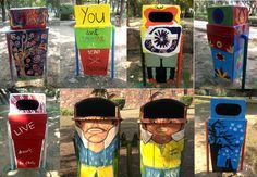 A brilliant initiative is giving artists a chance to display their creativity in a prominent public space while making garbage bins aesthetically appealing! Lodi Gardens, Trash Disposal, Cincinnati, Graffiti, It Works, Recycling, Mural Ideas, Good Things, Display