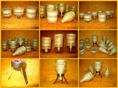 cuias de chimarão feitos com garrafas pet , base (suporte) também em garrafa pet e base ( suporte) feitao com lata de refrigerante ,revestidas com barbante de sizal bio.