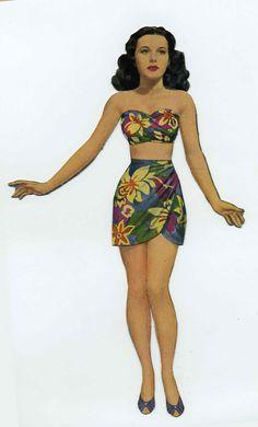 Hedy Lamarr 1940s paper doll.