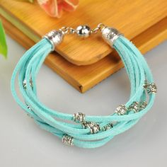 Fashion Jewelry Bracelets, Suede Cord with Alloy Findings and Brass Findings