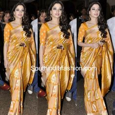 Actress Tamanna Bhatia in yellow and gold combination uppada silk saree teamed up with matching elbow length sleeves blouse. Brocade Blouse Designs, Fancy Blouse Designs, Indian Dresses For Girls, Latest Silk Sarees, Uppada Pattu Sarees, Formal Saree, Silk Lehenga, Anarkali, Stylish Sarees