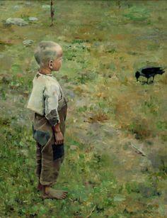 Akseli Gallen-Kallela, Boy and a Crow, 1884, oil on canvas, © Ateneum Art Museum, Helsinki, Photo: Jukka Romu and Hannu Aaltonen.