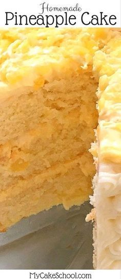 This Moist and Flavorful Homemade Pineapple Cake Recipe is the BEST! Scratch Yellow Cake Layers with a flavorful Pineapple and Cream Filling and Cream Cheese Frosting! MyCakeSchool.com. #pineapple #pineapplecake #cakerecipes #mycakeschool