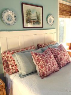 Vintage Waverly Alsace in red adds a touch of pretty to this farmhouse or cottage bedroom! Retro Fabric, Boho Look, Throw Cushions, Alsace, Comforters, Pillow Covers, Farmhouse, Cottage, Touch