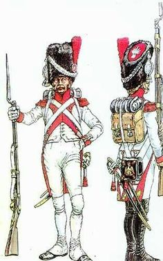 Dutch Grenadier Guards, fought for Napoleon.  One story has it that they wanted blue uniforms like their French counterparts, but there was a shortage of blue dye at the time, so they settled for white!