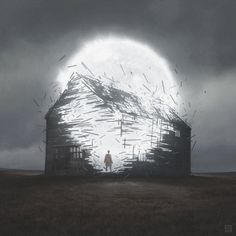 """Post-Apocalyptic Illustrations by Yuri Shwedoff Russian artist Yuri Shwedoff has created an intensely atmospheric vision of the """"end of days,"""" one that blends fantasy imagery with science fiction. Arte Horror, Horror Art, Yuri Shwedoff, Cyberpunk, Images Gif, Art Et Illustration, Star Art, Matte Painting, Art Moderne"""