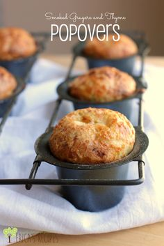 These perfectly puffed Smoked Gruyere and Thyme Popovers with smokey cheese and herby thyme are simply the best ever! Appetizer Recipes, Dessert Recipes, Appetizers, Desserts, Popover Recipe, Bread Winners, Good Food, Yummy Food, Snacks