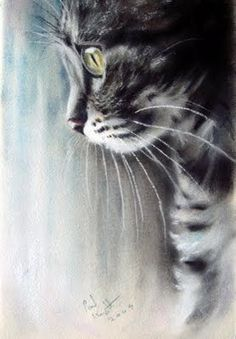Pastel Paintings by Paul Knight. Cats ~ Blog of an Art Admirer #Art