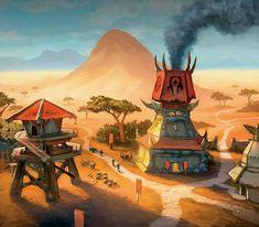 The Crossroads, World of Warcraft World Of Warcraft 3, Warcraft Movie, Warcraft Art, City Landscape, Fantasy Landscape, Fantasy Art, Fantasy House, Final Fantasy, Dark Tide