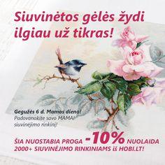 Siuvinėtos gėlės žydi ilgiau už tikras! MAMOS DIENA - ypatinga diena metuose -  padovanokite savo MAMAI nuostabiausią dovaną iš visų - siuvinėjimo rinkinį iš HOBI.LT! Šią nuostabią progą VIESIEMS 2000+ siuvinėjimo rinkiniams iš HOBI.LT -10% NUOLAIDA + NEMOKAMAS pristatymas su Omniva perkant prekių už daugiau nei 39€!