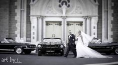 Our Mustang fleet out for Matthew and Linda's wedding at St Mary's Star of the Sea in Melbourne.